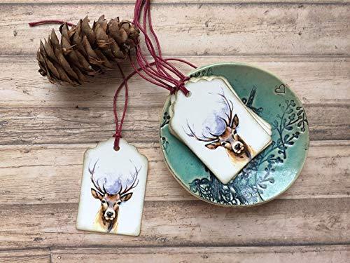 Hirsch 5 Geschenk Anhänger Set, Schildchen aus Papier, Hirschkopf digital Druck, Aquarell Papeterie mit Rothirsch Motiv, Weihnachten Geschenkverpackung, Lesezeichen