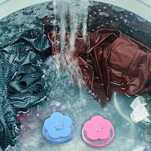 Filtre à charpie pour machine à laver,5 Pcs veyikdg Blanchisserie Poche en boule poils d'animaux de compagnie Fourrure Receveur flottant Sacs de lavage en mailles à linge en forme de fleur (B)