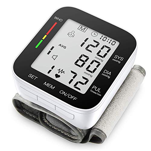 Blood Pressure Monitor Automatic Large LCD Display Adjustable Wrist Cuff Automatic Dual 90 Reading Memory for Home Use (MZ1681B)