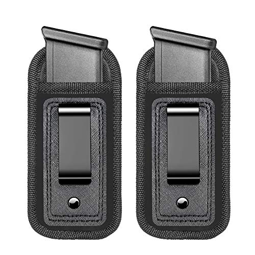2-Pack Universal Magazine IWB Concealed Carry Holster, Single Double Stack Mags Pouch for Glock 17 26 43 Sig 1911 S&W M&P 9mm .40 .45 Fits 7 10 15 Round Ammo Clips for Pistols