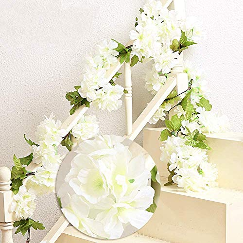 MZMing 2 x 235cm Artificial Cherry Blossoms Hanging Rattan Garland Wreath Fresh Lovely of Fake Flower Plant Flower Vine Leaf for Home Party Garden Fence Christmas Wedding Decoration-White