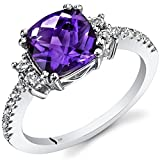 14K White Gold Amethyst Ring Cushion Checkerboard Cut 2.00 Carats Size 7