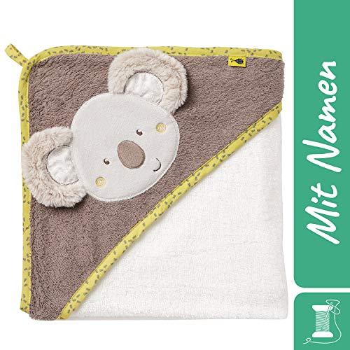 FEHN Koala Kapuzenbadetuch mit Namen bestickt, Australia, Kapuzenhandtuch für Baby & Kinder, Badetuch Badehandtuch Bade-Poncho Kinder-Badetuch mit Kapuze, 80x80 cm (Koala)