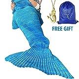 heartybay Crochet Mermaid Tail Blanket for Adult, Super Soft All Seasons Sleeping Mermaid Blanket (71'x35.5') - Blue