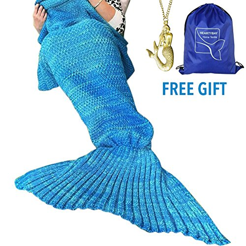 heartybay Crochet Mermaid Tail Blanket for Adult, Super Soft All Seasons Sleeping Mermaid Blanket...
