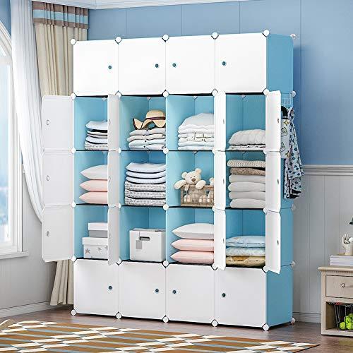 YOZO Portable Closet Wardrobe Cube Storage Organizer Chest of Drawer Cube Shelving Unit Multifunction Toy Cabinet Bookshelf DIY Furniture Blue 20 Cubes
