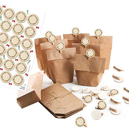Logbuch-Verlag 24 Kraftpapier Weihnachtstüten + Holzklammern + Weihnachtsaufkleber - Geschenkverpackung Weihnachtsgeschenk Weihnachten DIY Adventskalender
