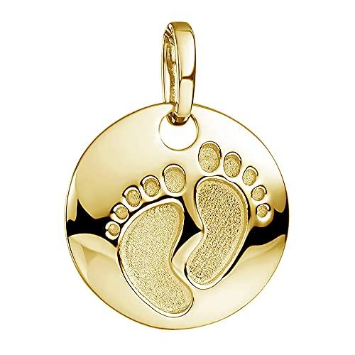 MATERIA Baby Füße Gravur Anhänger mit Kette Gold - Damen Mädchen Geschenk Schmuck 925 Silber vergoldet KA-454-G_K97-45cm_ohne Gravur