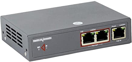 PoE Ethernet Extender Kit, CENTROPOWER Gigabit Ethernet Repeaters/Splitter with 2 Ports 30W IEEE 802.3af Compliant, Dual Power Source Sturdy Metal, Plug-and-Play