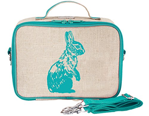SoYoung Lunch Bag - Raw Linen, Eco-Friendly, Retro-Inspired, Leakproof, Easy to Clean - Aqua Bunny