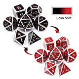 Haxtec Temperature Metal DND Dice Set Color Changing Polyhedral D&D Dice Set for RPG Dungeons and Dragons-Silver Black Red Shift