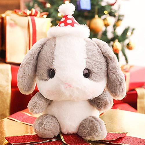 NIANMEI Weihnachtshase Plüschtier Plüschtier Plüschpuppe Kawaii Hase Mit Weihnachtsmütze Kinder Spielen Spielzeug Baby Geburtstag B_22cm