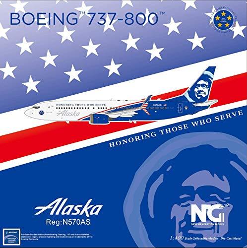 NG Model NGM58075 1:400 Alaska Airlines B737-800(S) Reg #N570AS