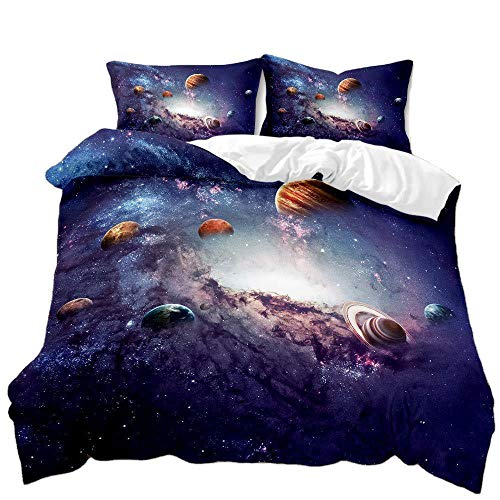 Cttfbys mtsubllk Planet space bedding set, 3D printed Mars astronaut duvet cover and pillowcase, suitable for themed bedroom and apartment-A_175*218cm(3pcs)