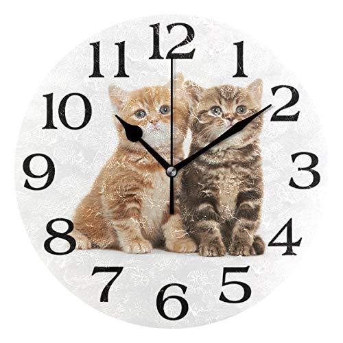 linomo Wanduhr mit Katzen-Motiv, geräuscharm, Nicht tickend, rund, für Küche, Wohnzimmer, Schlafzimmer, Badezimmer, Büro