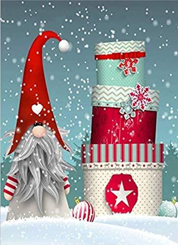 Christmas Diamond Painting Set -pigpigboss 5D Full Diamond Painting by Numbers Christmas Gnome Diamond Dot Art for Adult Santa Claus Diamond Painting Kit for Kids Christmas Decor Gift (12 x 16 inches) (AI-20)