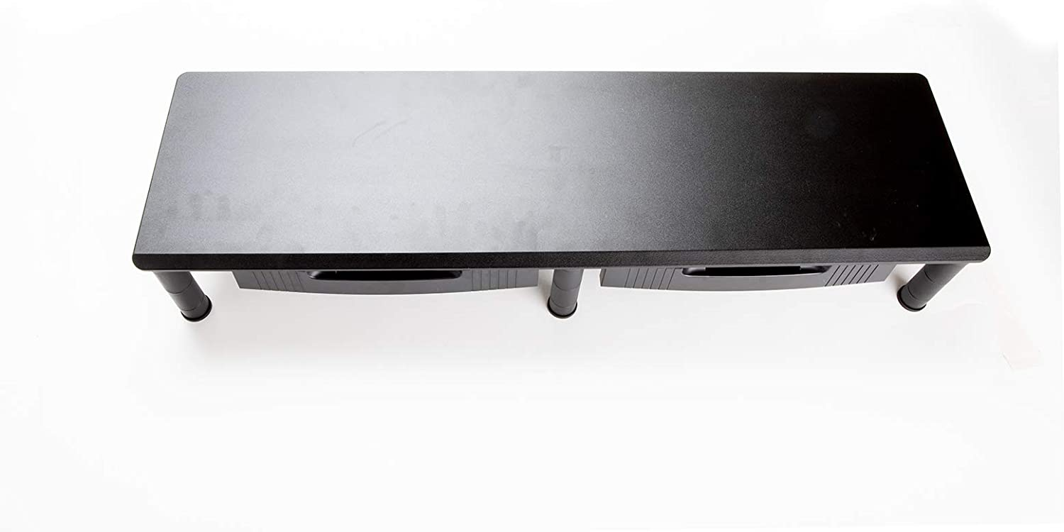 Mind Reader DUBMODR-BLK Large Dual Stand for Computer Screens, Riser Support The Heaviest Monitors, Printers, Laptops, TVs, Perfect Shelf Organizer for Office Desk, Height Adjustable, Black 2 Drawers