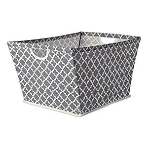 DII Collapsible Polyester Trapezoid Storage Basket, Home Organizational Solution for Office, Bedroom, Closet, & Toys (Medium – 16x12x10″) Gray Lattice