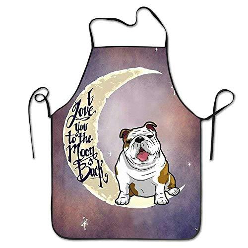 Not Applicable Delantal de Chef de Cocina Unisex Bulldog inglés de la Novedad - Delantal de Chef para cocinar, Hornear, Hacer Manualidades, jardinería y Barbacoa