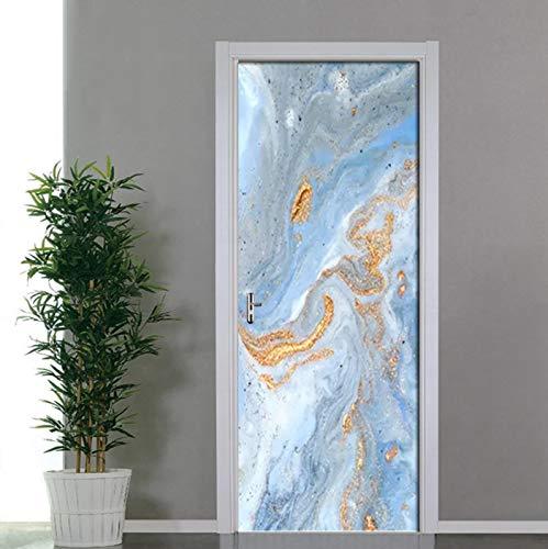 Pegatinas de puerta de arte de playa dorada, papel tapiz para sala de estar, dormitorio, decoración del hogar, póster, adhesivo de PVC autoadhesivo para pared, calcomanías