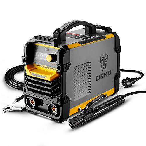 Soldadora DEKO 220V MMA, 250A 5.1KVA Soporte de electrodo para máquina de soldar ARC, pinza de trabajo, cable adaptador de alimentación de entrada y cepillo