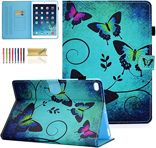 Dteck iPad 9.7 Case 6th 5th Gen, iPad Air 2 1 Case, PU Leather Slim Auto Sleep Wake Folding Stand Shockproof Pencil Holder Protective TPU Cover for Apple iPad 9.7 2018/2017, iPad Air 1 2,Butterfly
