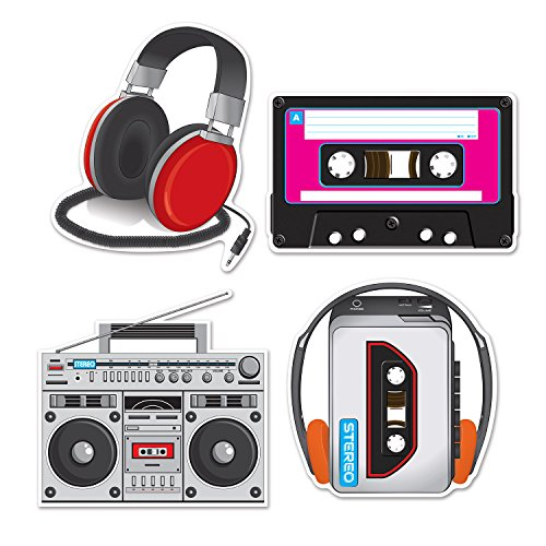 """Beistle Cassette Player Cutouts, 12"""" - 14"""", 4 Cutouts In Package"""