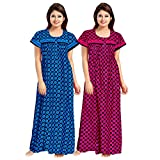 Trendy Fab Women's Cotton Maxi Nighty Night Gown, Free Size Combo Pack of 2 Pieces