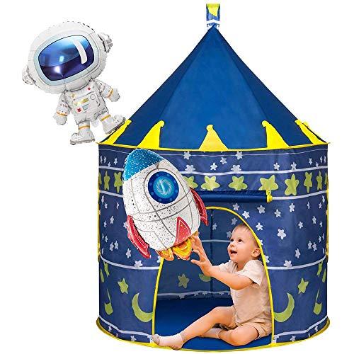 ZZAZXB Tienda Campaña para Niños, Carpa Espacial Pop Up de Casa Plegable con 2 Globos, Juguetes de Castillo para Juegos de Interiores y Exteriores