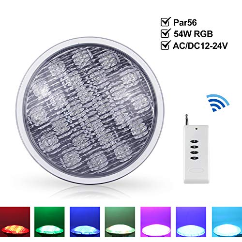 Roleadro 54W PAR 56 LED Piscine Lampe de Piscine Decoration IP68 Led Imperméable RGB Multicolore Projecteur Piscine LED Submersibles avec Télécommande [AC/DC12-24V]