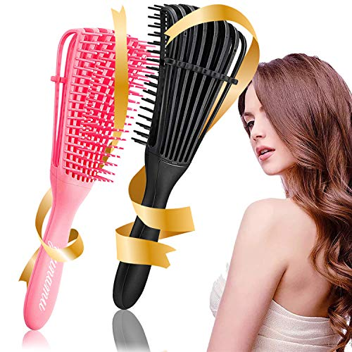 2 Pieces Detangling Brush, Detangler Brush for Hair Textured 3a to 4c Kinky Wavy/Curly/Coily/Wet/Dry/Oil/Thick/Long Hair, No Pull or Pain, Quicky Define Shiny Curls (Black, Pink)