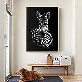 YHZSML Arte Blanco y Negro León Ciervo Cebra Pinturas de Animales para Sala de Estar Impresión en Lienzo Carteles Cuadros Decorativos Modernos E 50x70CM