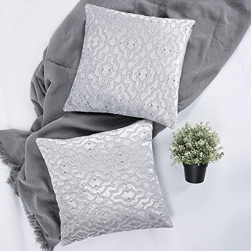 YINFUNG Velvet Jacquard Cushion Covers Geometric Figure 18x18 Accent Bed Cozy Soft Decorative Couch Toss Throw Pillow Cover Silver Sofa Living Room 2 Set