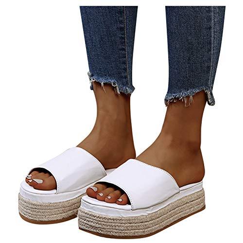 sandales femme noires tongs mode femme chaussure femme ete sandale sandales femme été chaussures femme confort pantoufles femme espadrilles chaussures de sport eté tongues femme(blanc_#02,EU-38)