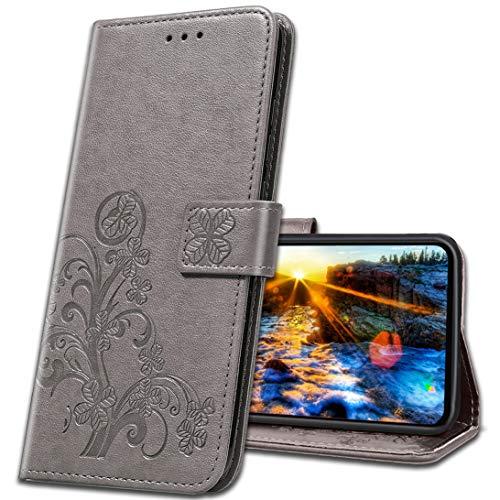 MRSTER Handyhülle für Motorola One Zoom Hülle, Schutzhüllen aus Klappetui mit Kreditkartenhaltern, Ständer, Magnetverschluss Tasche Kompatibel für Motorola One Zoom. Luck Clover Grey