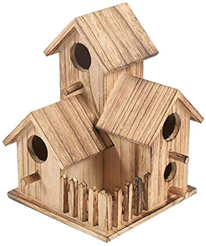 CLQ Bird Feeder Wooden Bird Feeder Kit, Nesting Box With Roof For Bird, Aviary, Aviary, Garden Wild Bird Feed Dispenser, Great For Home Decor
