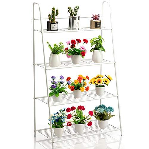 DOEWORKS Soporte de metal para plantas de 4 niveles, estante de almacenamiento en forma de escalera, organizador de zapatos, almacenamiento de utilidad para uso interior y exterior, color blanco