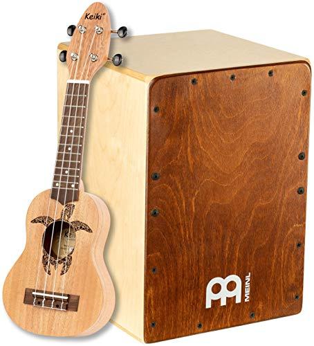 Meinl Percussion Snare Cajon Box Drum with Ukulele Jam Bundle — Keiki Sopranino by Ortega Guitars — Two Year Warranty, JC50K1