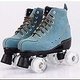 Unisex-Rollschuhe, klassisch, hochgeschnitten, PU-Leder, doppelreihig, für Jungen, Mädchen, Männer, Frauen, Erwachsene, Unisex, Weiß, Blau, 41