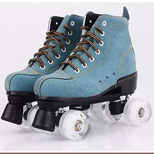 XUDREZ Roller Skates with Light Up Wheels, 4 Wheel Adjustable Quad Roller Skates Boots Adult and Youth, Indoor and Outdoor (Blue Does not Flash White Round,37)