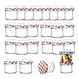 BigDean 25er Set Sturzglas 125 ml Marmeladenglas Einmachglas Einweckglas to 66 rot karrierter Deckel
