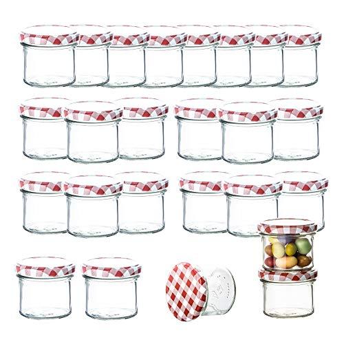 BigDean 25er Set Marmeladenglas 125 ml Sturzglas Einmachglas Einweckglas to 66 rot karrierter Deckel