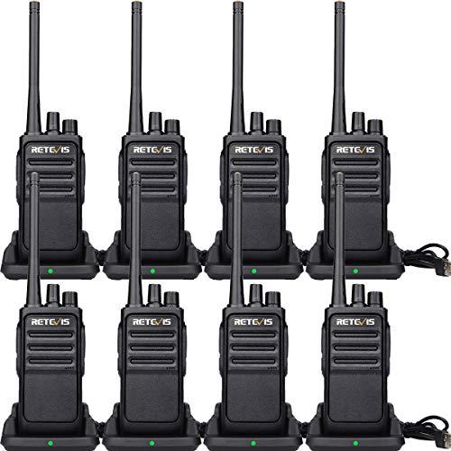 Retevis RT617 Funkgeräte, Lizenzfrei, 16 Kanäle, 1200mAh, Security Walkie Talkie, Nicht Magnetisches Mikrofon, IPx4 Funkgerät Set für Site, Factory(4 Paar, Schwarz)