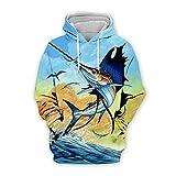 Men Women 3D Tropical Fish Printed Hoodie Long Sleeve Pullover Hooded Sweatshirts Tops Blouse K16 3XL