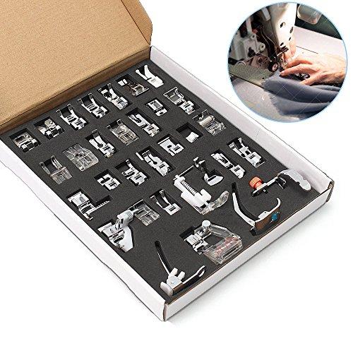 Donpow Prensatelas para máquina de coser, juego de prensatelas 32 piezas para YOKOYAM Fanghua505A Feiyue Juki IKEA Organización fácil y ordenada