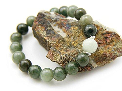 Agathe creation - Bracelet en Jade véritable. Perles de Jade Naturelles - Porte Bonheur - Taille réglable - Fait Main