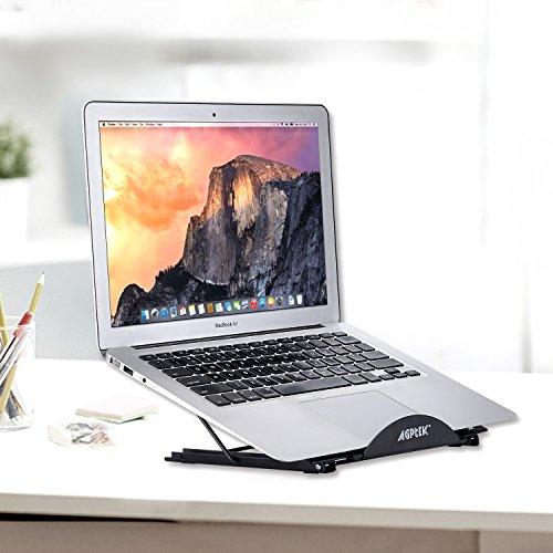 IMAGE Tablet Ständer Aluminium Laptopständer Notebook Ständer Multiwinkel verstellbare Halterung mit Gummipolster für Tablet iPad MacBook A4 Zeichenbrett 24x19cm