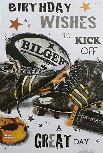 Jonny Javelin Geburtstagskarte, Motiv Rugby-Kit, Ball und Stiefel