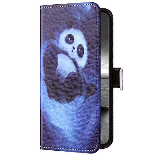 Uposao Kompatibel mit Samsung Galaxy S20 Plus Hülle Leder Wallet Schutzhülle Retro Bunt Lederhülle Brieftasche Hülle Klapphülle Bookstyle Tasche Flip Case Kartenfächer,Cartoon Panda