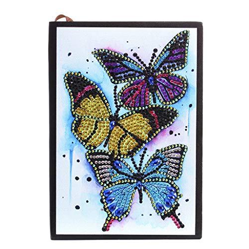 5D-Diamant-Malbuch mit drei Schmetterlingen, speziell geformte Diamant-Kits, Ledereinband, liniert, einfarbig, Skizzenbuch mit Kristallsteinen, Kunst für Büro, Geschäft und Studium, 21 x 15 cm